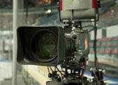TV camera, TV broadcast hockey — Stock Photo