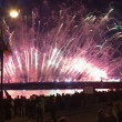 Light show and firework with a frigate with scarlet sails floating on the Neva River. — Stock Photo #48982745