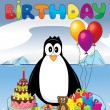 Stock Vector: Penguin on ice with birthday gifts and cake