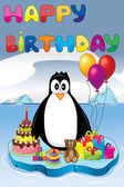 Penguin on ice with birthday gifts and cake — Stock Vector