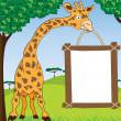 Stock Vector: Giraffe with blank advertisement frame