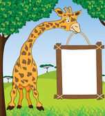 Giraffe with blank advertisement frame — Stock Vector