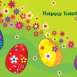 Happy Easter illustration with colored eggs can be used as postcard — Stock Vector