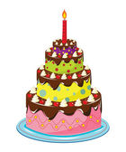 Birthday cake over white — Stock Vector
