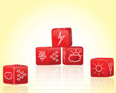 Dices with weather symbol icons — Stock Vector