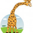 Stock Vector: Giraffe with Africnature on background