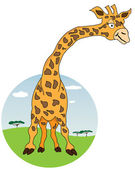 Giraffe with African nature on background — Stock Vector