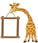 Giraffe holding blank advertisement frame isolated on white — Stock Vector