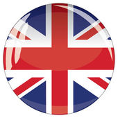 Glass button with national flag of Great Britain — Stock Vector