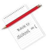 Notepad with text back to school — Stock Vector