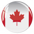 Glass button with national flag of Canada — Stock Vector