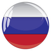 Glass button with national flag of Russia — Stock Vector