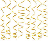 Golden curling ribbons — Stock Vector