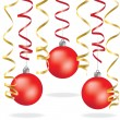 Stock Vector: Christmas balls and serpentine over white