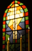 Prayer Candles And Stained Glass Church Window — ストック写真