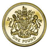 Acuñar moneda de libra británica oro con trazado de recorte — Foto de Stock