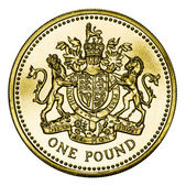 Mint British Gold Pound Coin with Clipping Path — Foto de Stock