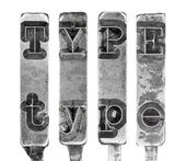 Word TYPE in Old Typewriter Typebar Letters Isolated on White — Stock Photo