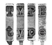 白で隔離される古いタイプライター typebar 手紙の単語の種類 — ストック写真
