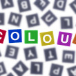 Colour Concept Coloured Word Against Grey Letters — Stock Photo