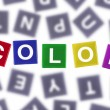 Color Concept Colored Word Against Grey Letters — Stock Photo