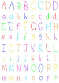 Childs Handwriting Letters Alphabet A to P — Stock Photo