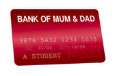 Bank of Mum and Dad Credit Card Family Finances — Stock Photo