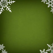 Green Abstract Christmas Winter Background with Snowflakes — Stock Photo