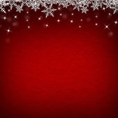 Red Abstract Christmas Winter Background with Snowflakes and Sta — Stock Photo