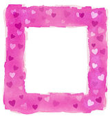 Abstract Pink Watercolor Hearts Square Frame Border — Stock Photo