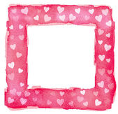 Abstract Pink Red and White Watercolor Hearts Square Frame Borde — Zdjęcie stockowe