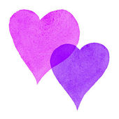 Watercolor Painted Hearts Pink and Purple — Stock Photo