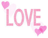 Word Love Little Watercolor Painted Red and Pink Hearts — Stock Photo