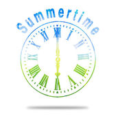 Summertime Abstract Clock With Summer Colors — 图库照片