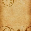 Coffee Stains & Clock Vellum Parchment Background — Stock Photo #43628723