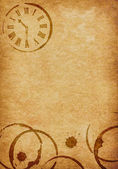 Coffee Stains & Clock Vellum Parchment Background — Stockfoto