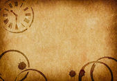 Coffee Stains & Clock Vellum Parchment Background — Stock Photo