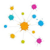 Infographic Interconnected Network of Paint Splashes — Stock Photo