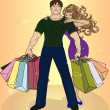 Stock Vector: Couple shopping