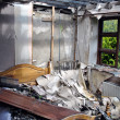 Bedroom after house fire — Stockfoto