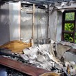 Bedroom after house fire — Stock Photo