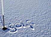 Signo de golf en la nieve — Foto de Stock