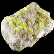 Native sulphur in dolomite - Stock Photo