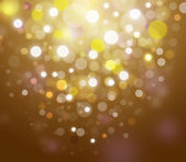 Golden Festive Christmas elegant abstract background with bokeh lights and stars — Stock Photo