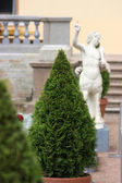 Ornamental tree cone amid statues and banisters — Stock Photo