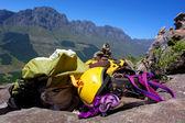 Climbing gear on rocks — Stock Photo