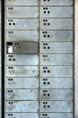 Old rusty lockers on the wall — Stock Photo