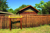 Reception sign in camp's park — Stock Photo