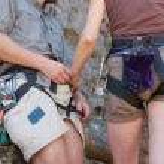 Rock climbers' couple - closeup — Stock fotografie