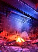 Rustic fireplace — Stock Photo